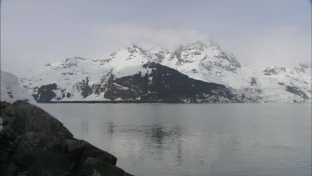 snowy glaciers surround prince william sound, alaska. - prince william stock videos & royalty-free footage