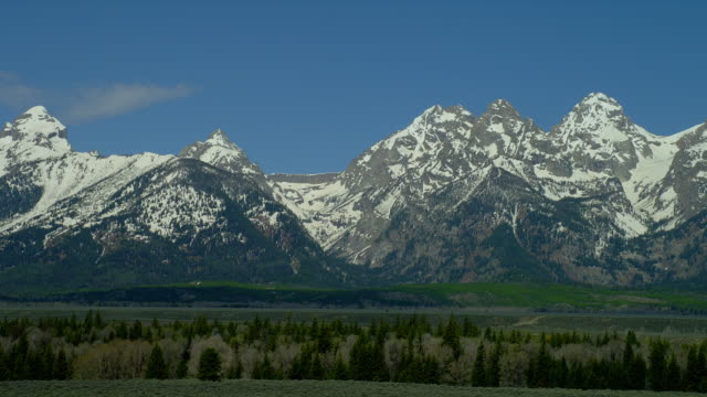 wide pan snowy grand teton and teton range with green plain and trees in foreground, grand teton national park, wyoming - grand teton stock videos and b-roll footage