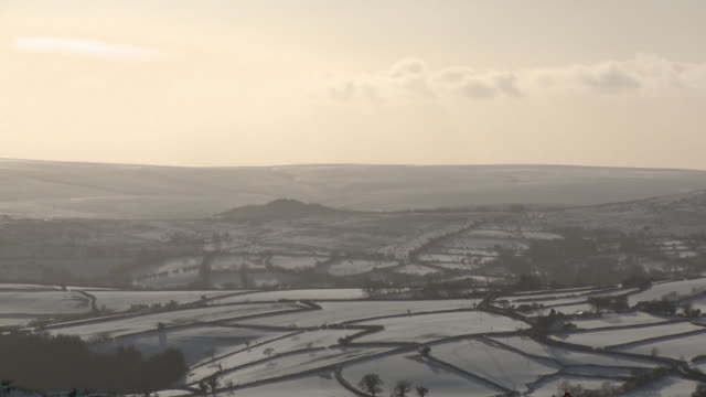 snowy hill, dartmoor, uk - hill stock videos & royalty-free footage