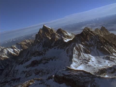 Snowy, jagged mountain peaks