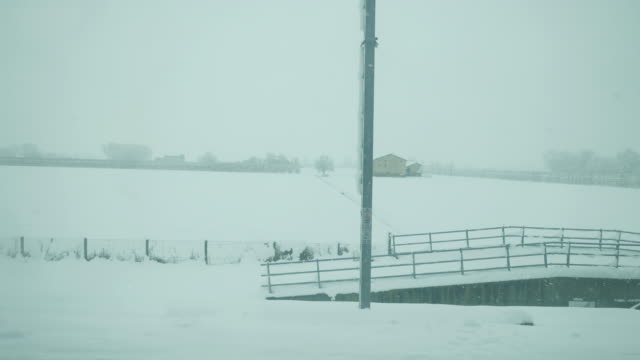 Snowy landscape from the train