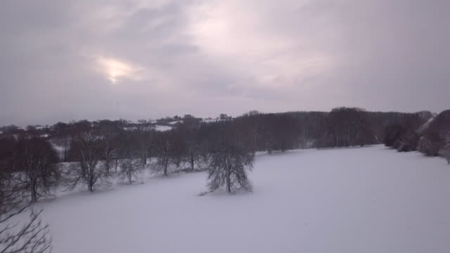 Snowy landscape of the rural Cotswolds near Christmas