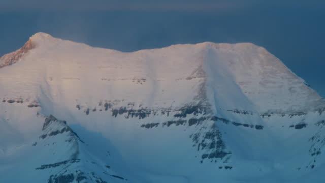 ms snowy mountain peak at sunset, orem, utah, usa - orem video stock e b–roll