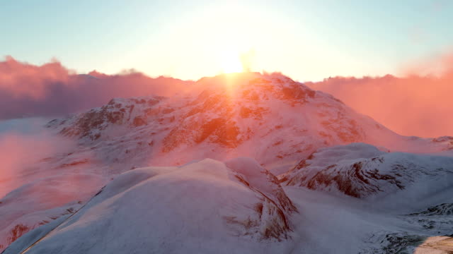 Snowy Mountains y Sunset