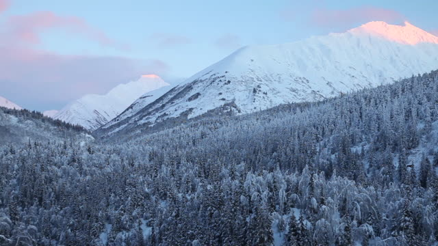 snowy mountains, chugach national forest, alaska. - chugach national forest stock videos & royalty-free footage