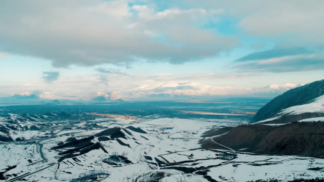 snowy mountains drone shot - mount ararat - agri / dogubayazit - ark stock videos and b-roll footage
