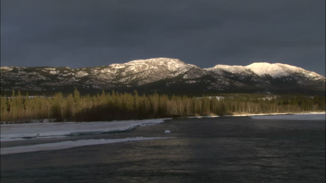 snowy mountains in the distance overlook tagish lake. - whitehorse stock videos and b-roll footage