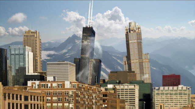snowy mountains surround a city that crumbles during an earthquake. - earthquake stock videos & royalty-free footage