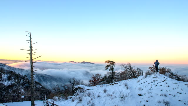 Snowy Mt Deogyusan and cloud sea
