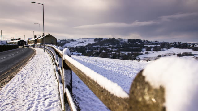 snowy neighborhood in oxenhope, england - snow stock videos & royalty-free footage