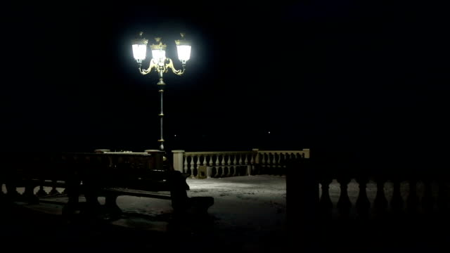 snowy night on a deserted promenade - promenade stock videos & royalty-free footage