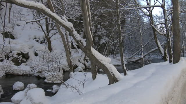 snowy oirase stream and icefall, aomori, japan - oirase river stock videos & royalty-free footage
