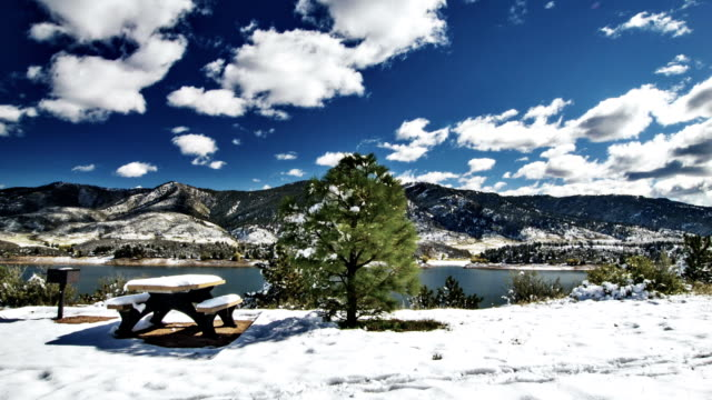 snowy picnic table in park - picnic table stock videos & royalty-free footage