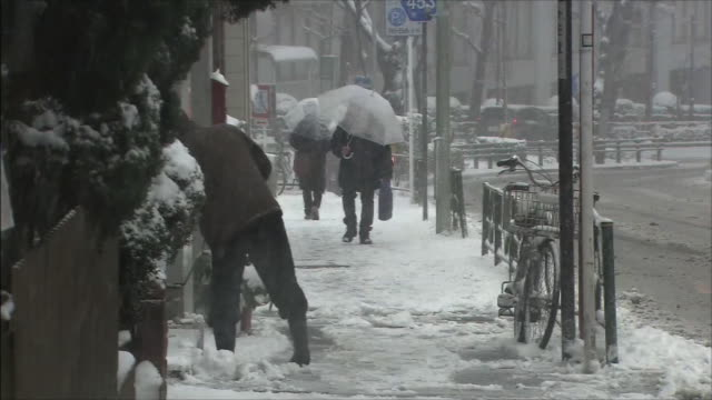 vídeos de stock e filmes b-roll de snowy sidewalk person shoveling snow people walking - pá para neve