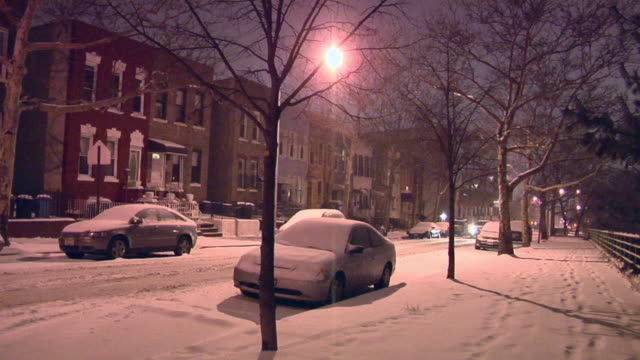 ws, snowy street at night, park slope, brooklyn, new york city, new york, usa - 30 seconds or greater stock videos & royalty-free footage