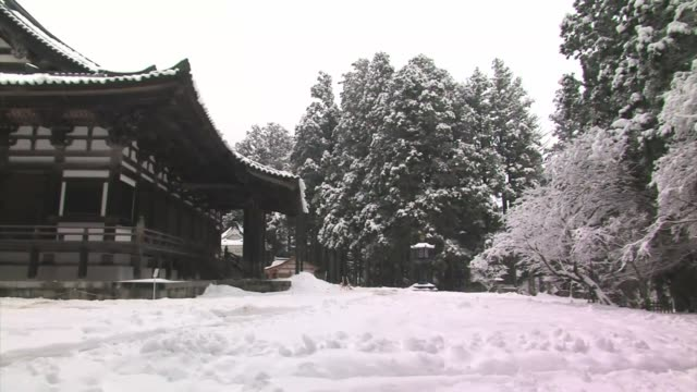 snowy temple, koyasan, honshu, japan - satoyama scenery stock videos & royalty-free footage