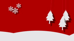 Snowy Vector Christmas Background Of Trees And Snowflakes On A String