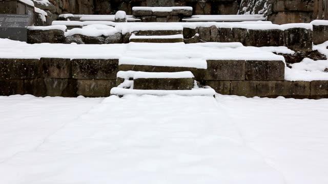 snowy view of mireungni stone buddha figurine(korea treasure 96) at jungwonmireungnisaji(historical temple site) - male likeness stock videos & royalty-free footage