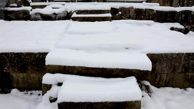 snowy view of mireungni stone buddha figurine(korea treasure 96) at jungwonmireungnisaji(historical temple site) - history stock videos & royalty-free footage