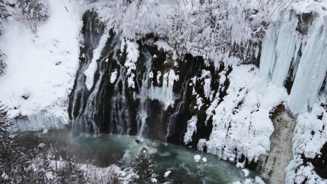 snowy waterfall in hokkaido, high angle - kamikawa subprefecture stock videos and b-roll footage