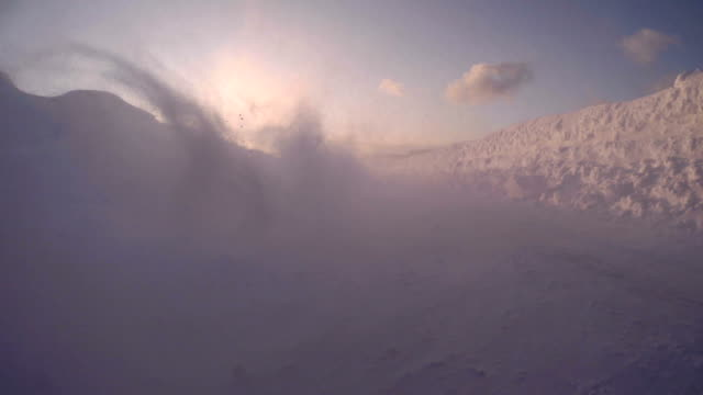 snowy winter road drive at dusk ,rear view - plusphoto stock videos & royalty-free footage