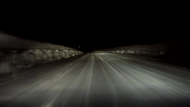 Snowy winter road drive at night- 4K -