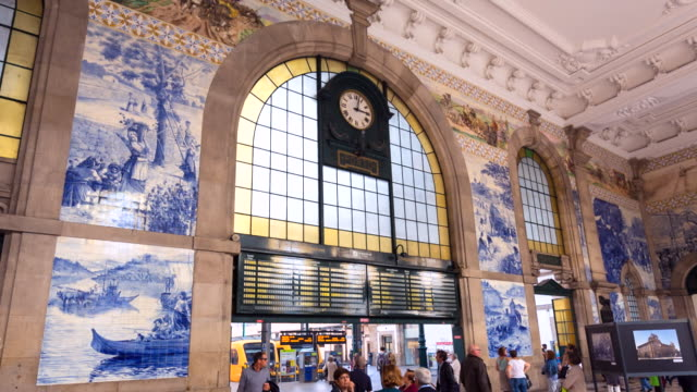 ms são bento train station with traditional azulejo tiles - information sign stock videos & royalty-free footage