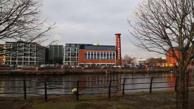 soapworks building seen from the other side of manchester ship canal, salford, greater manchester, uk, on wednesday, february 5, 2020. - bare tree stock videos & royalty-free footage