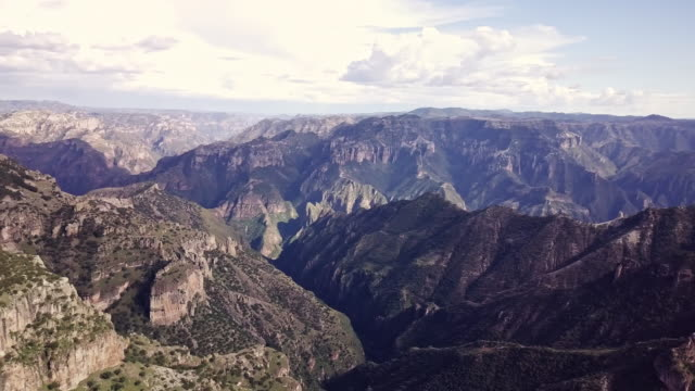 soaring drone footage of copper canyon at divisadero, urique, chihuahua mexico - mountain range stock videos & royalty-free footage