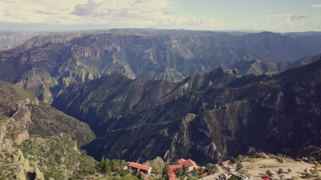 soaring drone footage of copper canyon at divisadero, urique, chihuahua mexico - sierra madre stock videos & royalty-free footage