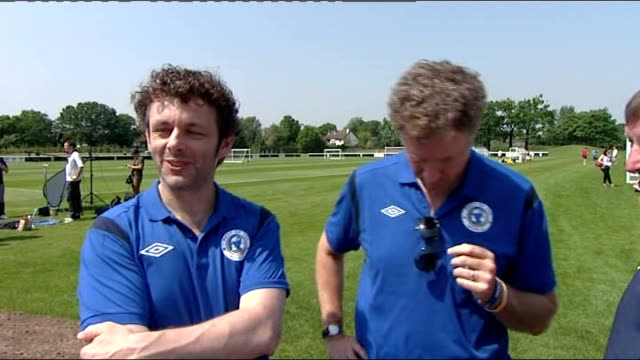 preview england surrey new malden motspur park the academy fulham football club training ground ext will farrell interview alongside michael sheen... - surrey england stock videos & royalty-free footage