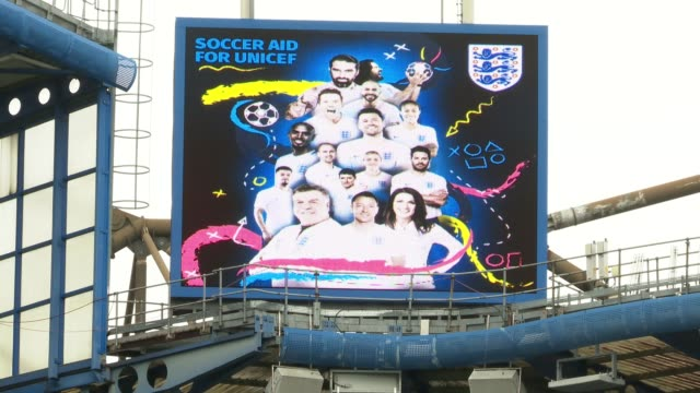 press launch ahead of event england london chelsea stamford bridge ext general views of stamford bridge / 'soccer aid for unicef' stadium... - スタンフォードブリッジ点の映像素材/bロール