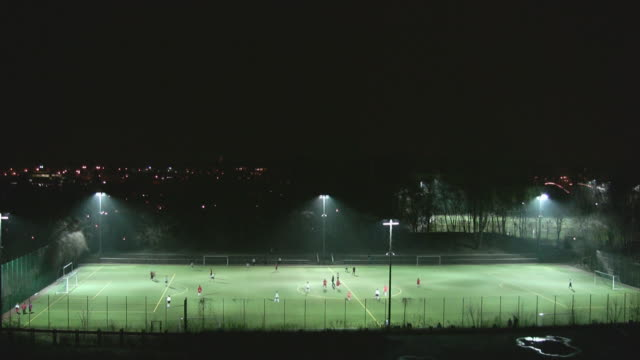 soccer at night - distant stock videos & royalty-free footage