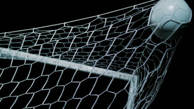 slo mo soccer ball flying into the net - netting stock videos & royalty-free footage
