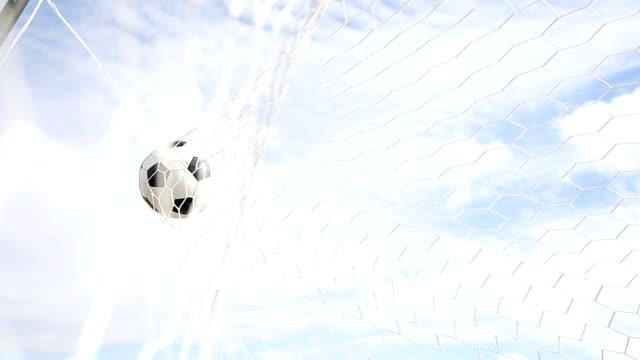 vídeos de stock e filmes b-roll de soccer ball hit the net,success goal concept - relvado terra cultivada