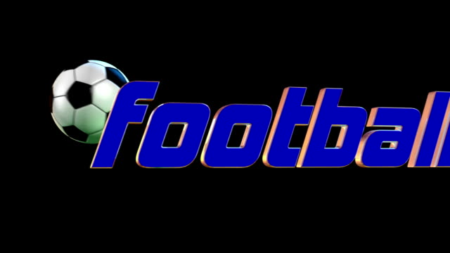 Soccer ball hitting 3D text football