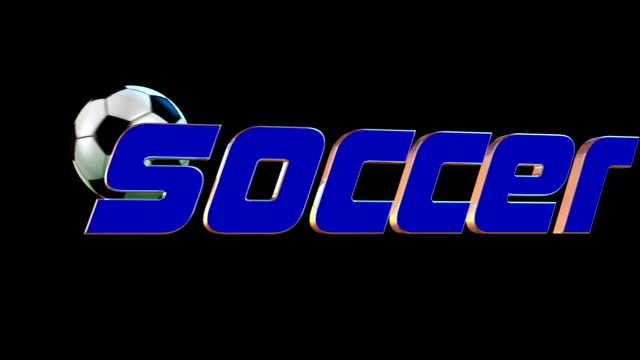 Soccer ball hitting 3D text