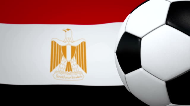 Soccer ball loop with Egyptian flag background