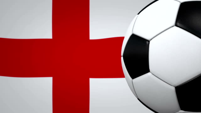 soccer ball loop with english flag background - bandiera inglese video stock e b–roll