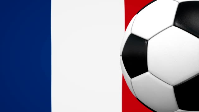 Soccer ball loop with French flag background