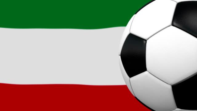Fußball-Kugel-Schleife mit iranischen Flagge Hintergrund