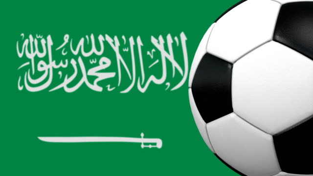 soccer ball loop with saudi arabian flag background - sports league stock videos & royalty-free footage
