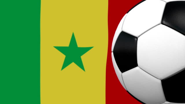 Soccer ball loop with Senegalese flag background