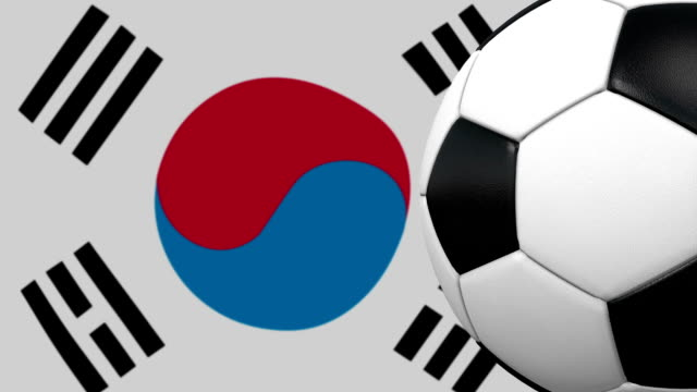 soccer ball loop with south korean flag background - south korean flag stock videos & royalty-free footage