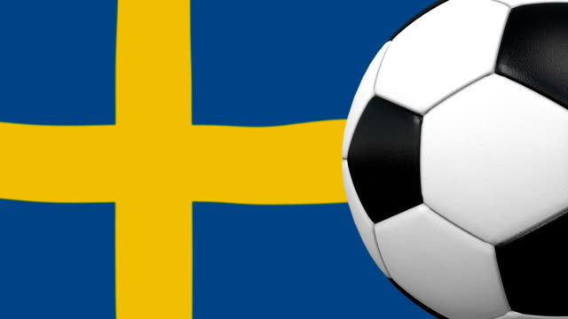 soccer ball loop with swedish flag background - swedish flag stock videos and b-roll footage