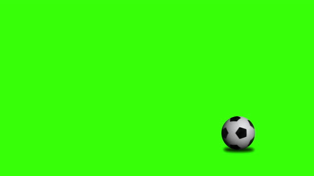 Soccer ball rolling on chroma key