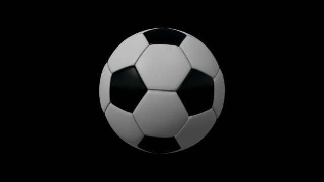 4k soccer ball rotating loop. 2 in 1. alpha matte. - matte stock videos & royalty-free footage