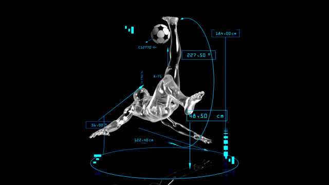 3d soccer bicycle kick man with technical data - three dimensional stock videos & royalty-free footage
