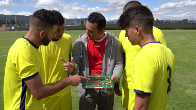 soccer coach explaining the line up on board while talking strategies - strategy stock videos & royalty-free footage