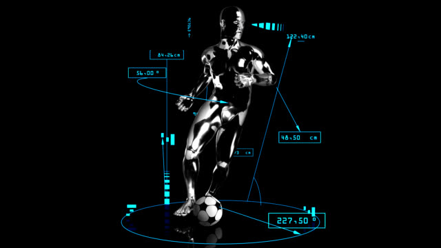 3d soccer cross man with technical data - record breaking stock videos & royalty-free footage